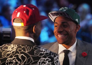 Jabari Parker meets Andrew Wiggins in Minneapolis very early in the season. Photo by Brad Penner-USA TODAY Sports