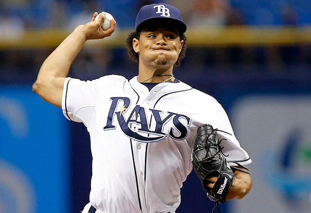 ST. PETERSBURG, FL - JUNE 23: Chris Archer #22 of the Tampa Bay Rays pitches during the first inning of a game against the Toronto Blue Jays on June 23, 2015 at Tropicana Field in St. Petersburg, Florida. (Photo by Brian Blanco/Getty Images)