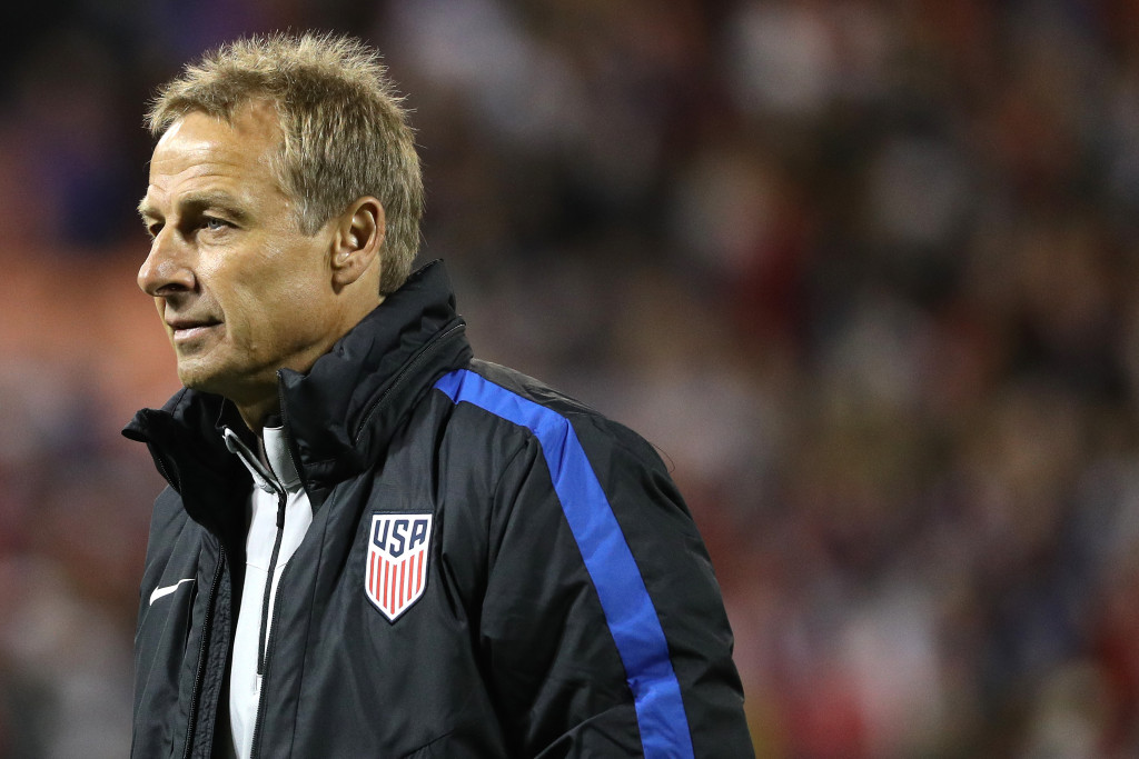 WASHINGTON, DC - OCTOBER 11: Head coach Jurgen Klinsmann of the United States looks on after playing against New Zealand during an International Friendly at RFK Stadium on October 11, 2016 in Washington, DC. (Photo by Patrick Smith/Getty Images)