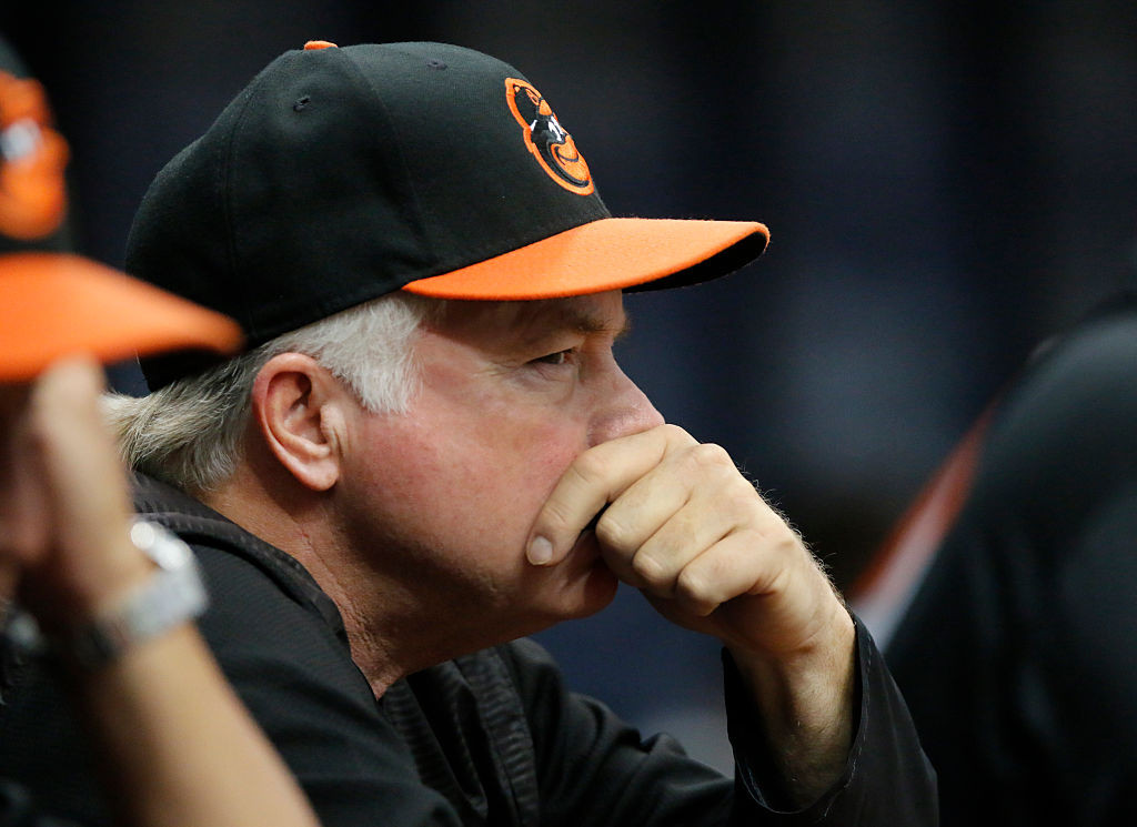 ST. PETERSBURG, FL - JULY 17: Buck Showalter manager of the Baltimore Orioles watches the game from the dugout during their game with the Tampa Bay Rays at Tropicana Field on July 17, 2016 in St. Petersburg, Florida. (Photo by Joseph Garnett, Jr. /Getty Images)