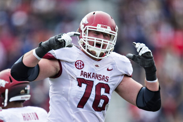OXFORD, MISSISSIPPI - NOVEMBER 9:  Dan Skipper #76 of the Arkansas Razorbacks yells toward the sideline during a game against the Ole Miss Rebels at Vaught-Hemingway Stadium on November 9, 2013 in Oxford, Mississippi.  The Rebels defeated the Razorbacks 34-24.  (Photo by Wesley Hitt/Getty Images)