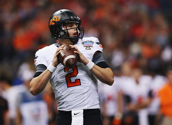 NEW ORLEANS, LA - JANUARY 01:  Quarterback Mason Rudolph #2 of the Oklahoma State Cowboys looks to pass against the Mississippi Rebels during the second quarter of the Allstate Sugar Bowl at Mercedes-Benz Superdome on January 1, 2016 in New Orleans, Louisiana.  (Photo by Chris Graythen/Getty Images)