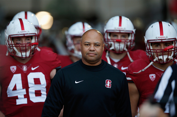 PALO ALTO, CA - NOVEMBER 14:  Head coach David Shaw of the Stanford Cardinal  walks out to the field with his team before their game against the Oregon Ducks at Stanford Stadium on November 14, 2015 in Palo Alto, California.  (Photo by Ezra Shaw/Getty Images)