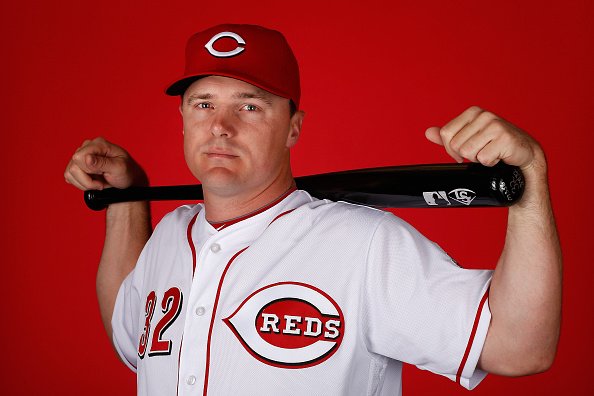 GOODYEAR, AZ - FEBRUARY 24: Jay Bruce #32 of the Cincinnati Reds poses for a portrait during spring training photo day at Goodyear Ballpark on February 24, 2016 in Goodyear, Arizona (Photo by Christian Petersen/Getty Images)