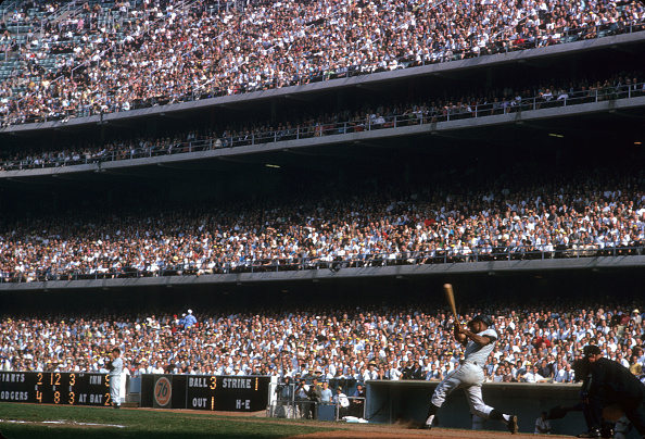 Baseball: NL Pennant Tie-Breaker: San Francisco Giants Willie Mays (24) in action, at bat and hitting bases loaded single vs Los Angeles Dodgers during 9th inning at Dodger Stadium. Game 3.  Los Angeles, CA 10/3/1962 CREDIT: Neil Leifer (Photo by Neil Leifer /Sports Illustrated/Getty Images)