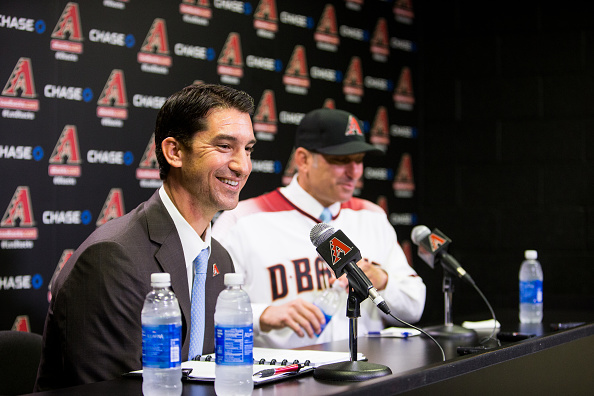 PHOENIX, AZ - NOVEMBER 7: The Arizona Diamondbacks General Manager Mike Hazen laughs during a press conference on November 7, 2016 in Phoenix Arizona. (Photo by Sarah Sachs/Arizona Diamondbacks/Getty Images)