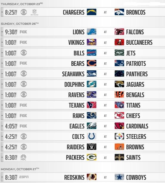 NFL 2014 Week 8 schedule