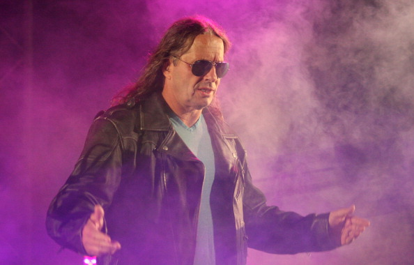 """DURBAN, SOUTH AFRICA - JULY 08:  Special guest referee Bret """"The Hitman"""" Hart is introduced during the WWE Smackdown Live Tour at Westridge Park Tennis Stadium on July 08, 2011 in Durban, South Africa.  (Photo by Steve Haag/Gallo Images/Getty Images)"""