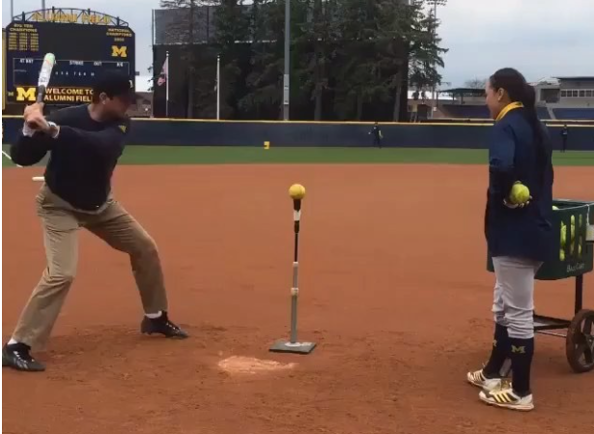 Jim Harbaugh dabs after hitting softball homer off a tee