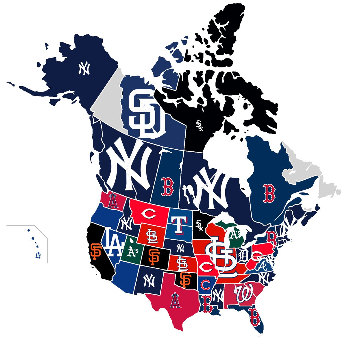This most d MLB team state map leads to more questions ... Map Of Nhl Fan Territory on mlb blackout map, nhl canada map, nhl country map, nhl fan map, nhl division map, most hated nfl team map, nhl region map, nhl city map, nhl market map, nhl state map, nhl team map, nhl history,
