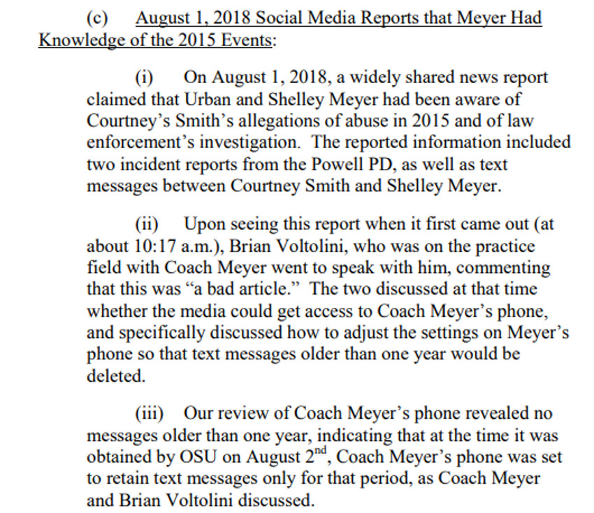 The OSU report's commentary on Urban Meyer's texts.