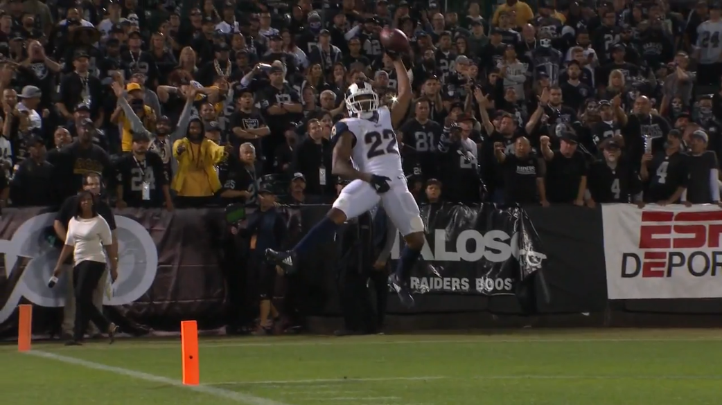 Marcus Peters gets pick-six, does the Marshawn Lynch crotch