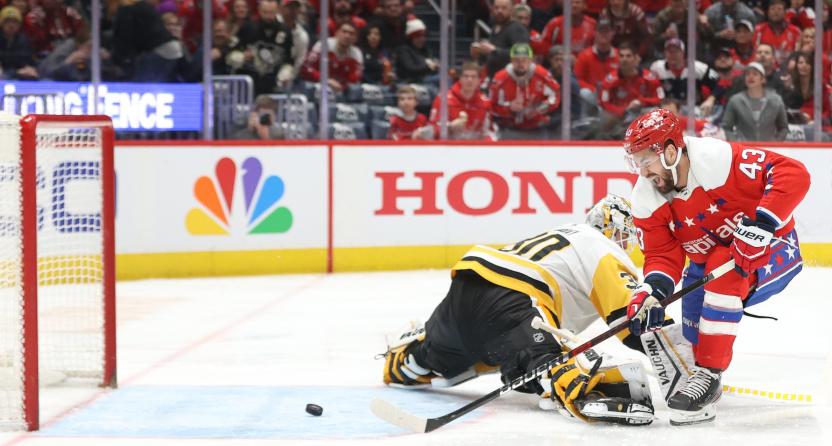 Capitals Edge Penguins 5 3 Behind Breakaway Goal From Tom Wilson